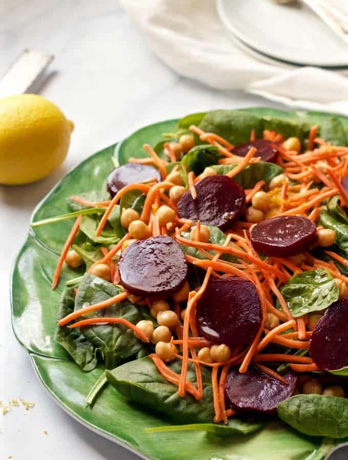 Spinach & roasted beet salad with carrots and chick peas - an easy, healthy salad with a tart-sweet lemon-maple vinaigrette | FamilyFoodontheTable.com