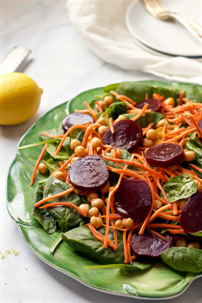 Start fresh spinach beet salad main