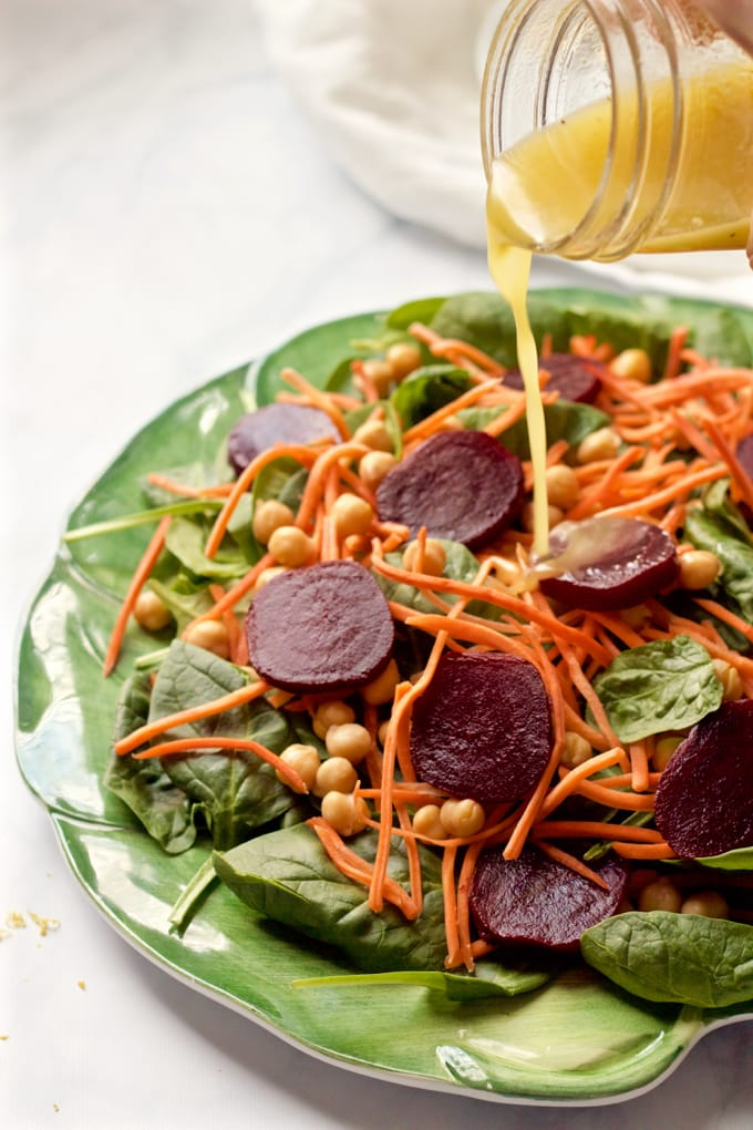 Start fresh spinach & roasted beet salad with carrots and chick peas - an easy, healthy salad with a tart-sweet lemon-maple vinaigrette | FamilyFoodontheTable.com