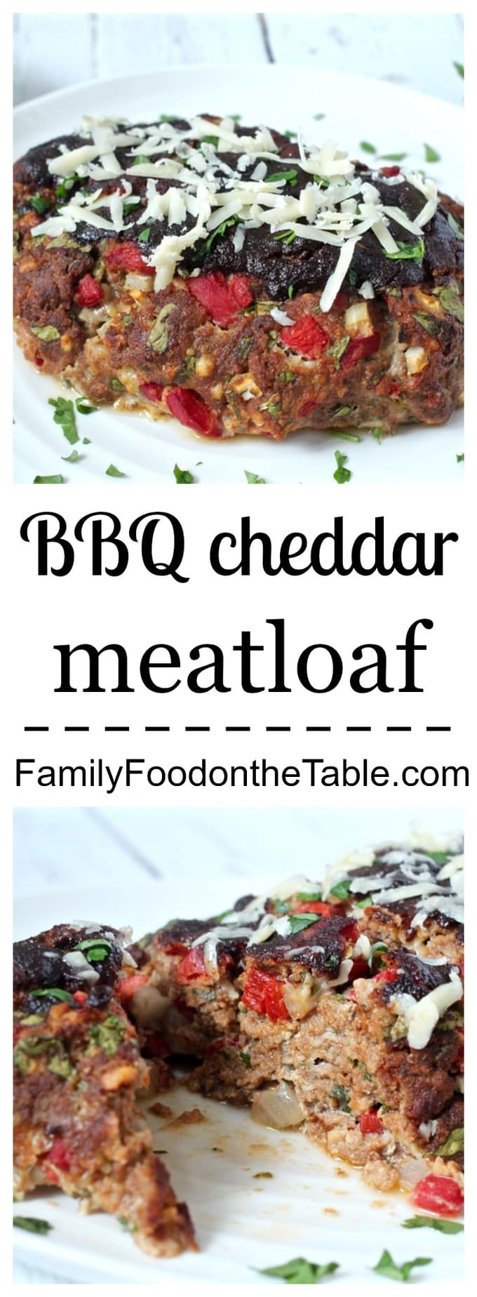An easy, flavorful, 1-bowl healthy meatloaf with ground turkey, cheddar cheese and BBQ sauce. Sure to be a family favorite! | FamilyFoodontheTable.com