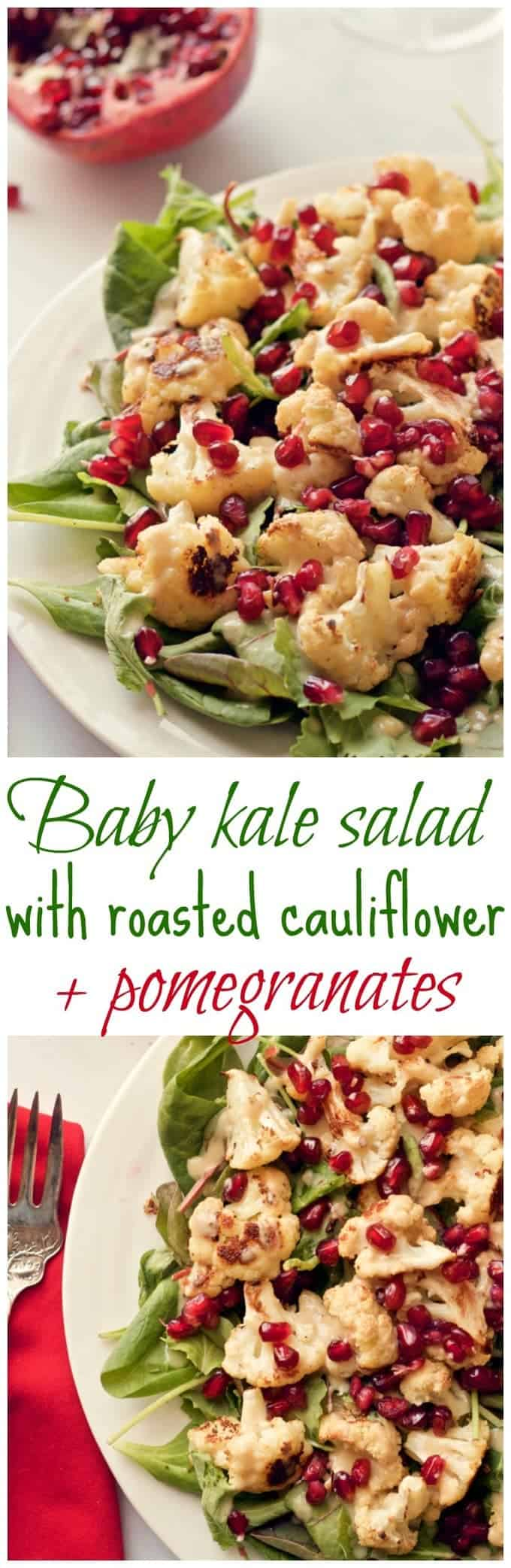 Baby kale and roasted cauliflower salad sprinkled with pomegranate seeds and drizzled with a creamy tahini dressing   FamilyFoodontheTable.com