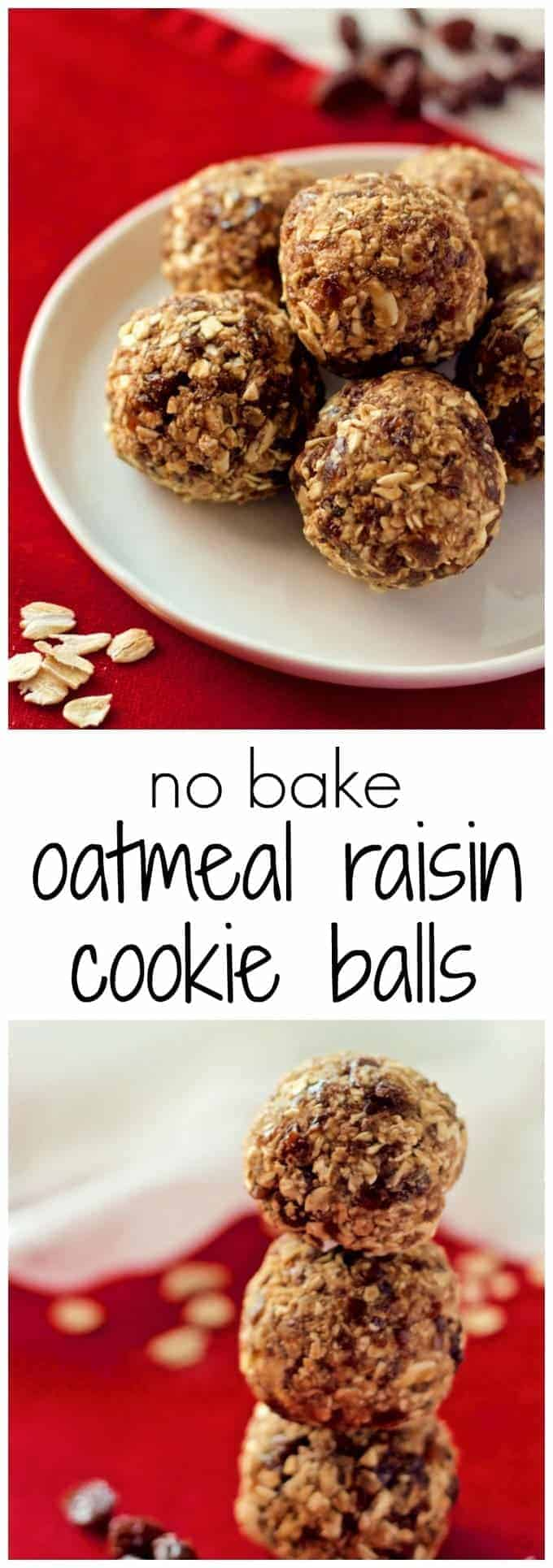 These no-bake treats taste just like a chewy oatmeal raisin cookie but are naturally sweetened and full of only wholesome ingredients!