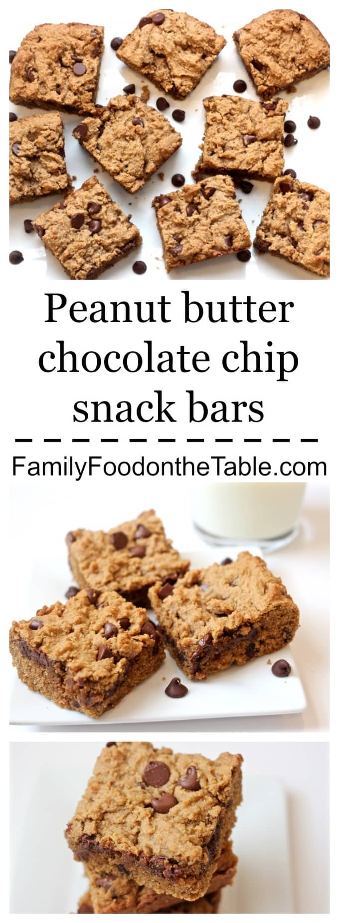 Peanut butter chocolate chips snack bars are whole grain, healthyish and so delicious. They taste like a giant, thick cookie! | FamilyFoodontheTable.com