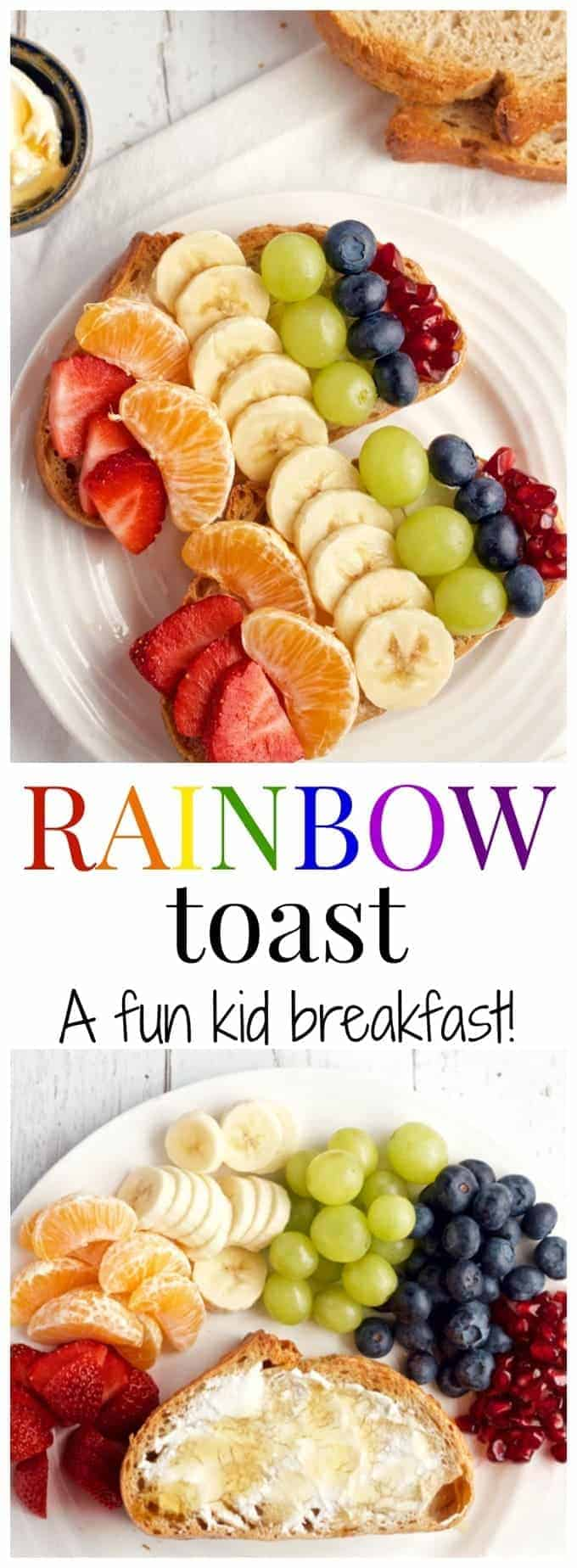 Rainbow toast - a fun fruit toast for kids! | FamilyFoodontheTable.com
