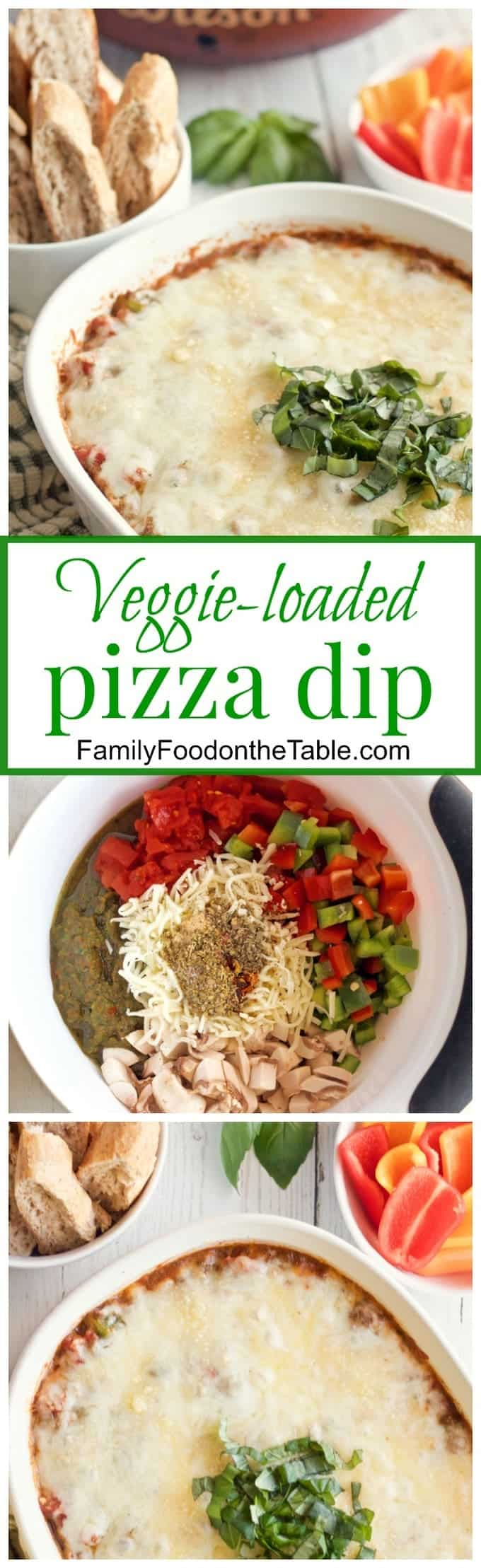 A super cheesy veggie-packed pizza dip, perfect for game day or party nights!