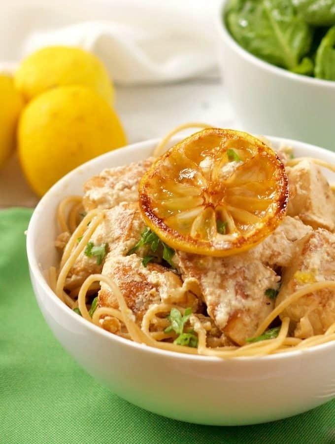 Creamy lemon chicken spaghetti has a light but luscious goat cheese sauce   FamilyFoodontheTable.com