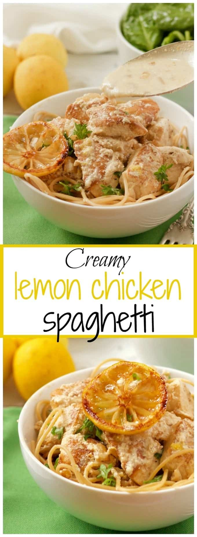 Chicken breasts are cooked in a light, bright lemon and goat cheese sauce and served over spaghetti for a fast, flavorful dinner!