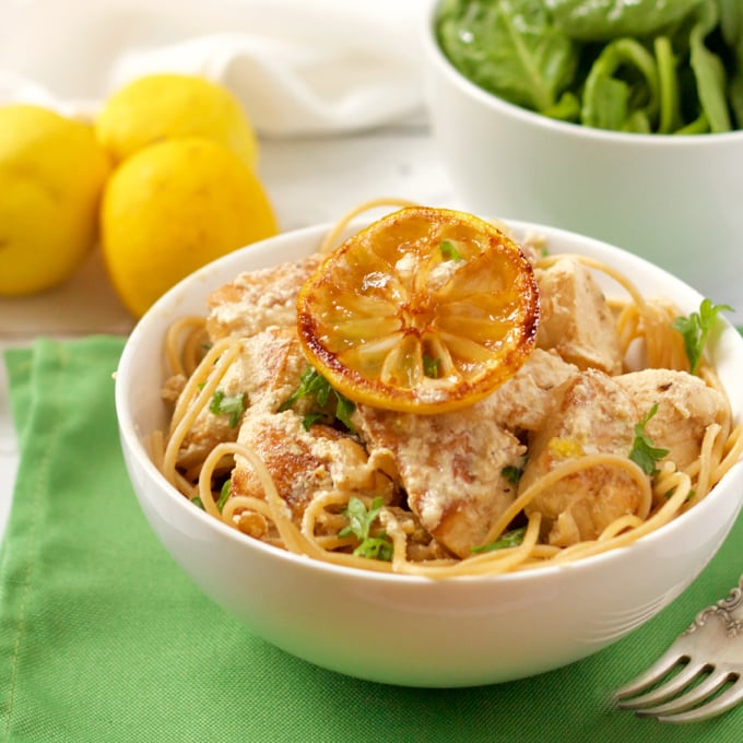 Creamy lemon chicken spaghetti has a light but luscious goat cheese sauce | FamilyFoodontheTable.com
