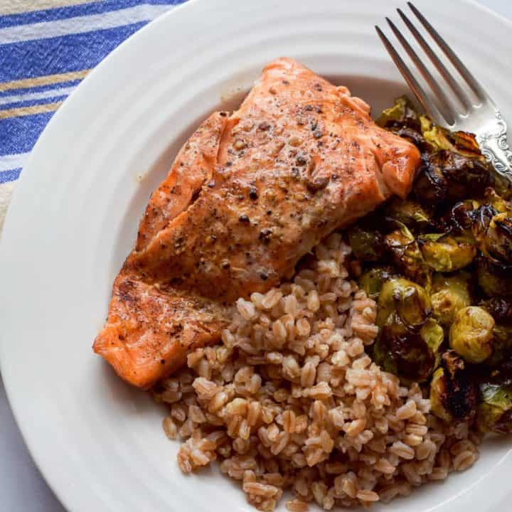 Balsamic salmon, farro and Brussels sprouts - a 30-minute weeknight dinner full of superfoods! | FamilyFoodontheTable.com