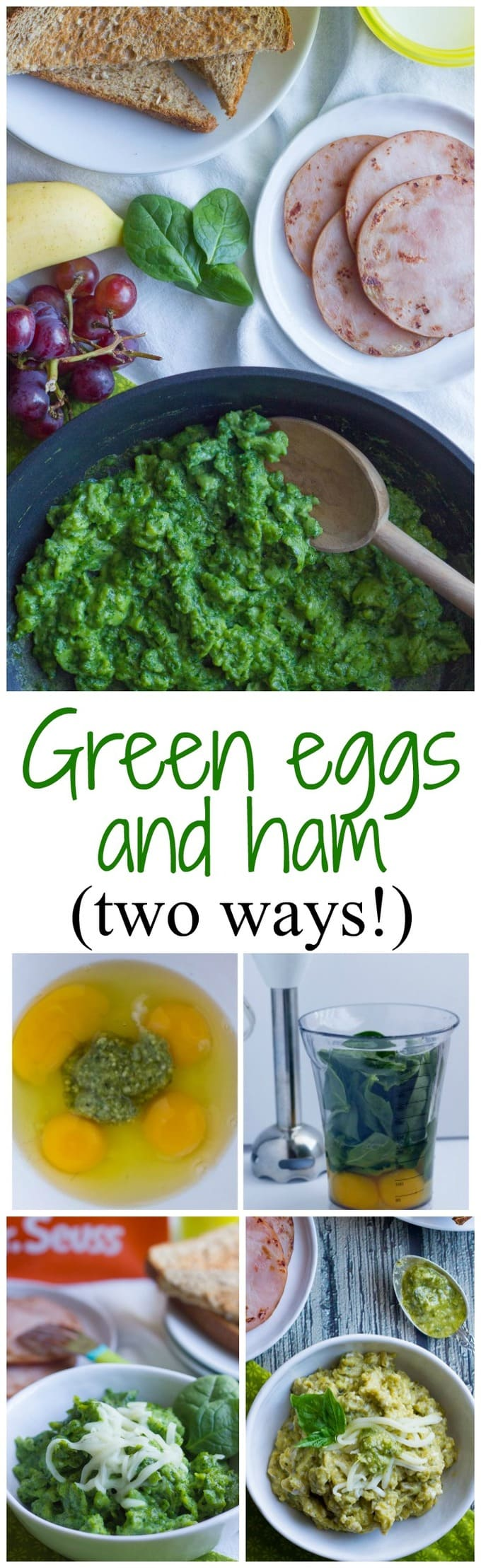Green eggs and ham breakfast, 2 ways -- skip the food coloring and make some healty, easy real food green eggs with either pesto or fresh spinach | FamilyFoodontheTable.com