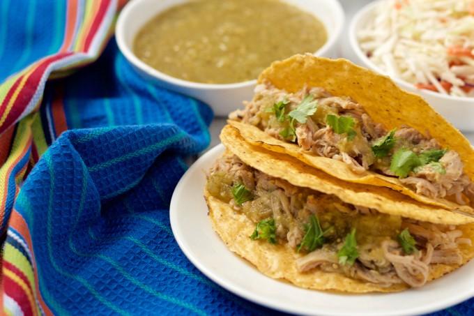Slow cooker salsa verde pork tacos