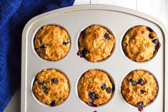 Baked muffins with blueberries in a muffin tin