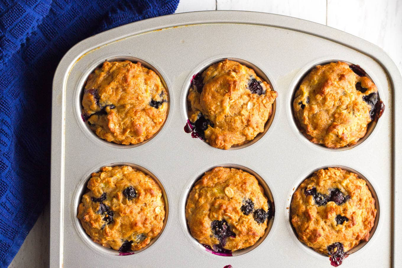 Whole grain banana blueberry muffins | FamilyFoodontheTable.com