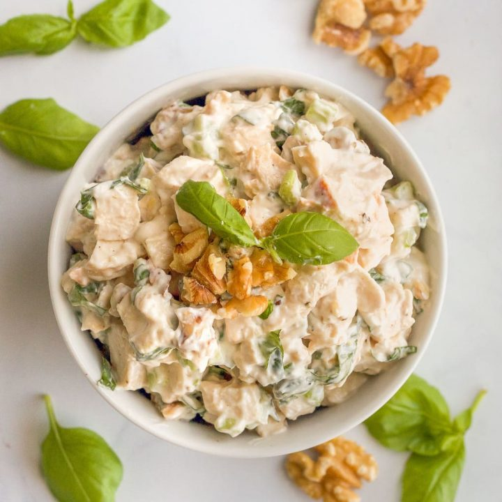 Basil chicken salad with walnuts
