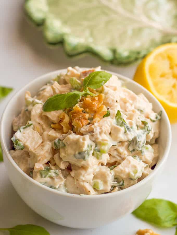 Healthy chicken salad with fresh basil and chopped walnuts - makes an easy lunch! | FamilyFoodontheTable.com