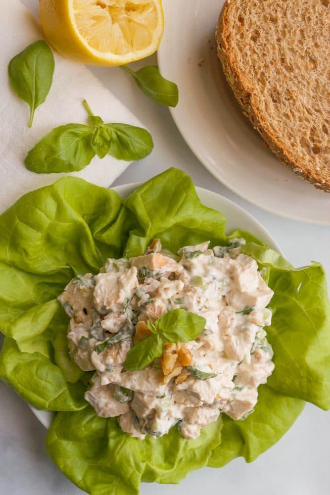 Healthy chicken salad with fresh basil and chopped walnuts | FamilyFoodontheTable.com