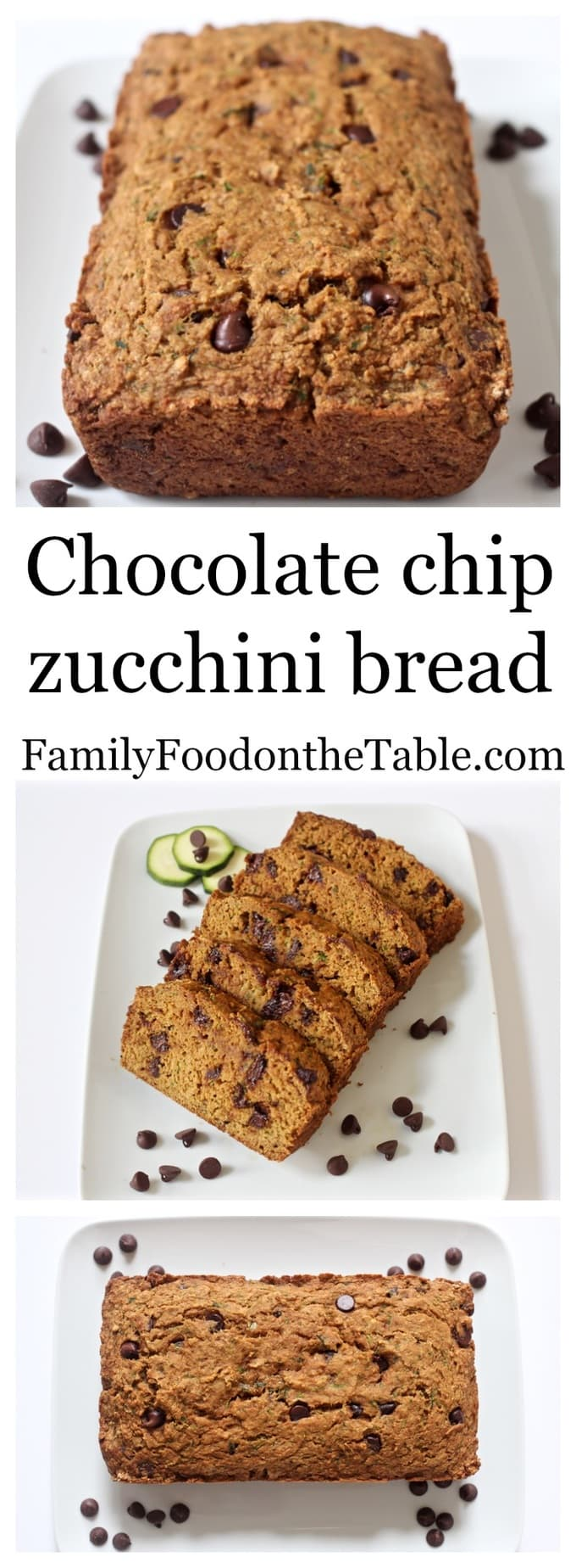 Chocolate chip zucchini bread photo collage