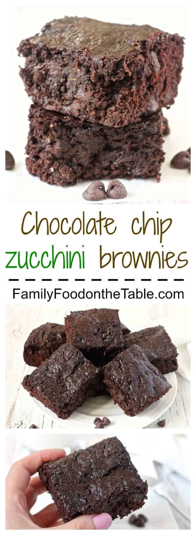 Chocolate chip zucchini brownies are rich, decadent and delicious - but secretly healthy! 100% whole grain and loaded with veggies! | www.familyfoodonthetable.com