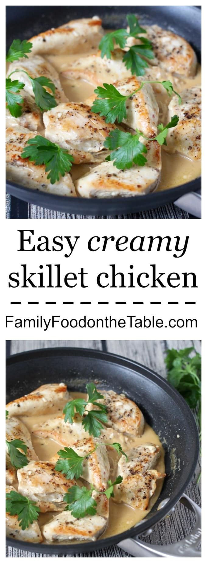 This creamy skillet chicken has a velvety smooth sauce from just 2 ingredients - a great, easy weeknight dinner! #chickendinner #chickenrecipes #easydinnerideas #easyrecipes