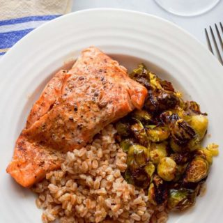 Balsamic salmon and Brussels sprouts with farro
