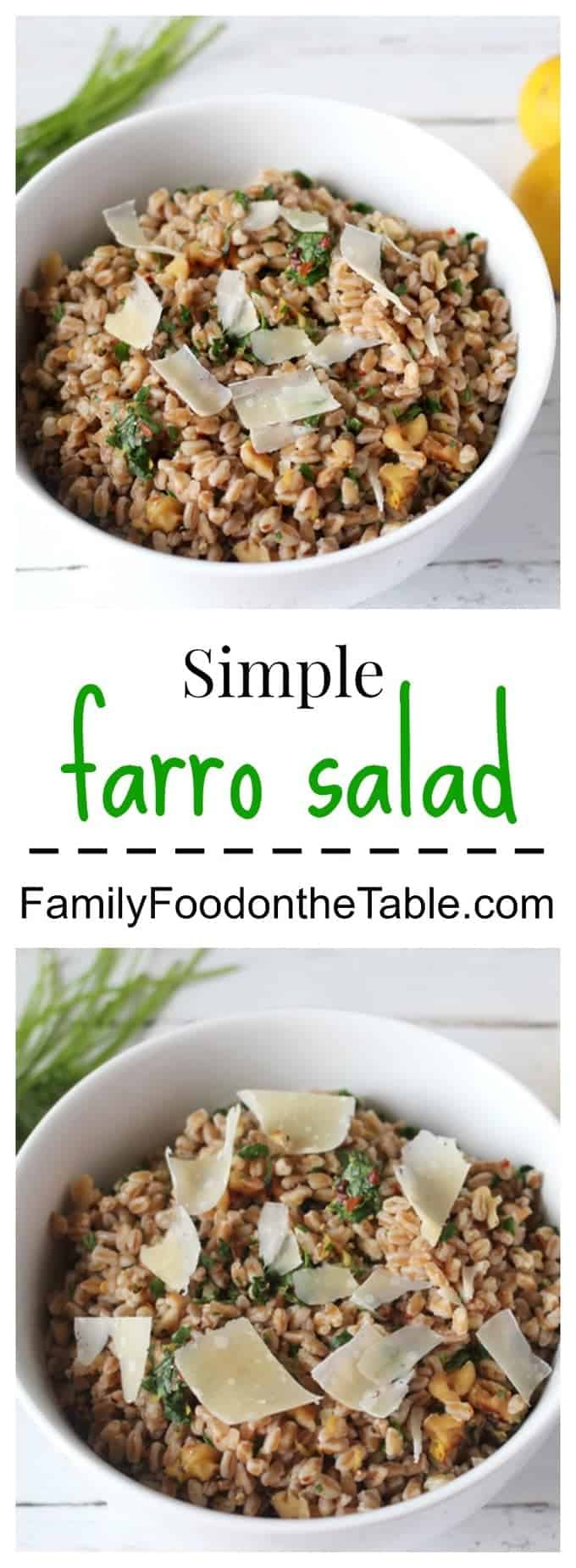 Simple farro salad makes for an easy side dish - or lunch - using basic, on-hand ingredients
