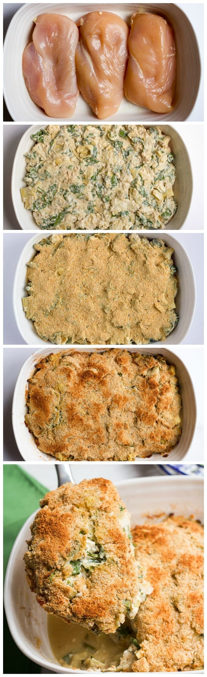 Super creamy (but lightened up) spinach artichoke chicken casserole - just 10 minutes to prep! Makes a great weeknight dinner or meal for company! | FamilyFoodontheTable.com