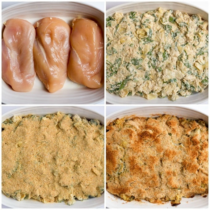 A super creamy spinach artichoke chicken casserole the whole family will love! | FamilyFoodontheTable.com