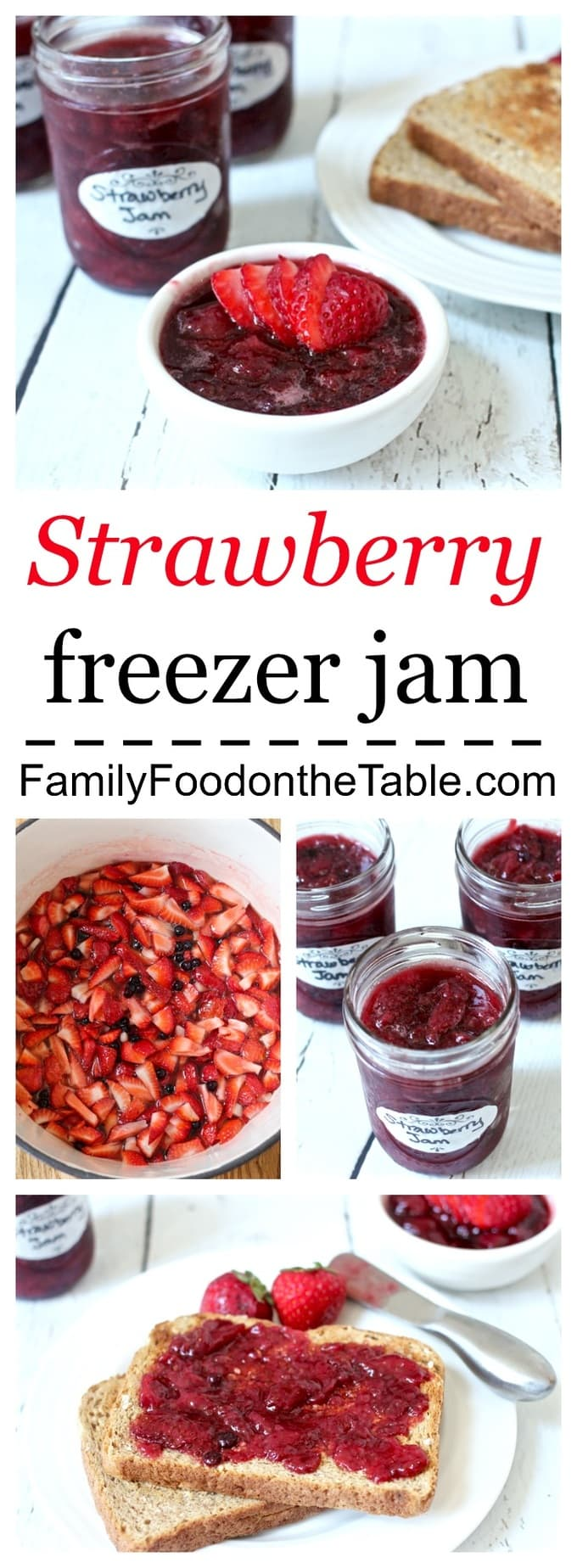 An easy, no-canning, strawberry freezer jam sweetened naturally with honey!