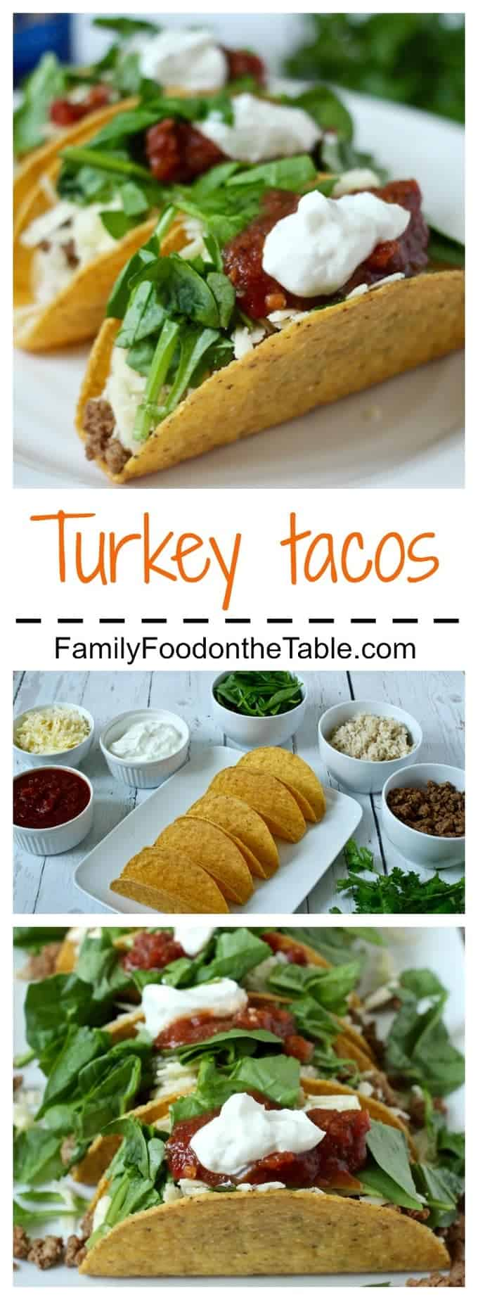 Turkey tacos are an easy, healthy weeknight dinner. Just add your favorite toppings!