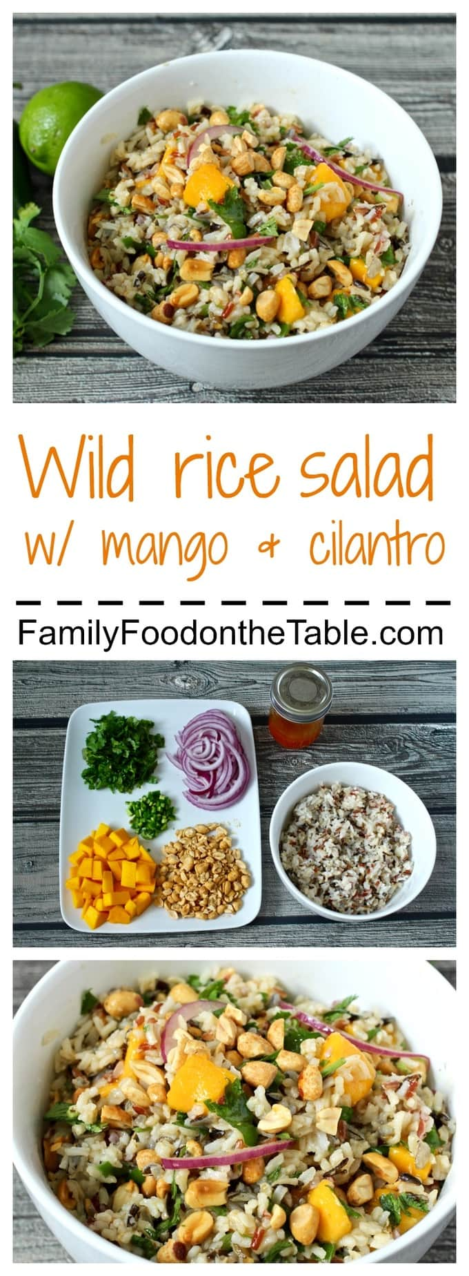 Delicious wild rice salad with mango, cilantro, peanuts and a lime-srirachi vinaigrette!