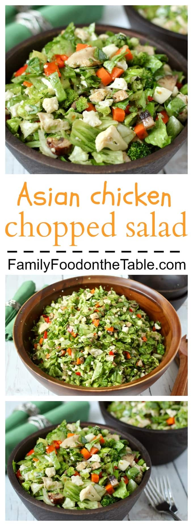 A fresh Asian-style chopped salad with an easy, homemade soy ginger dressing - a healthy lunch or dinner!