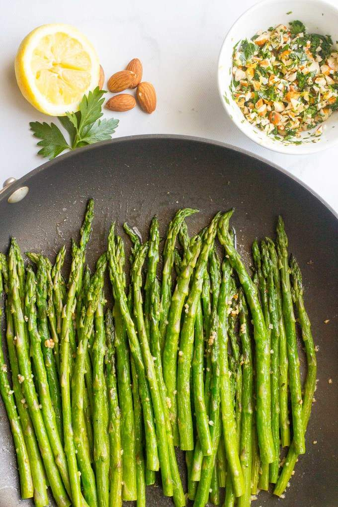 Asparagus almondine is an easy, fast side dish that's sure to impress!