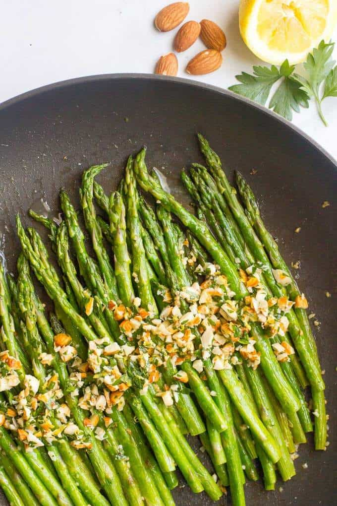 Asparagus almondine is an easy, healthy, 15-minute side dish that's sure to impress!