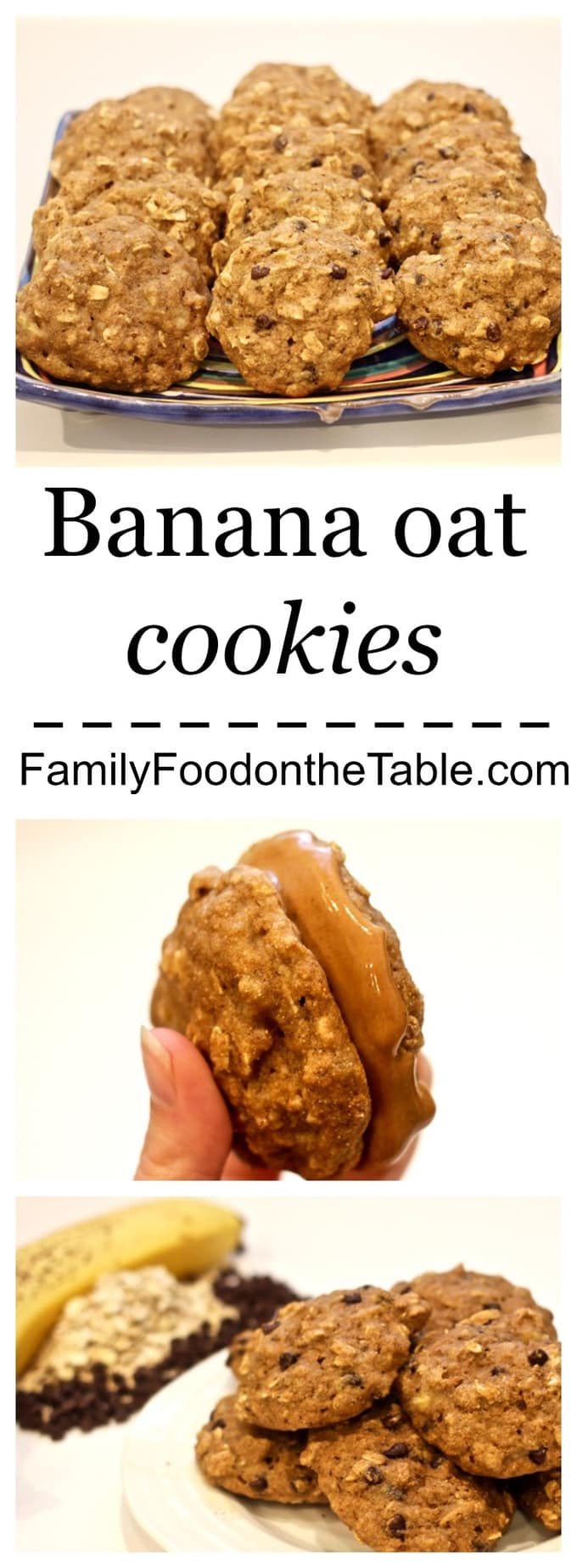 Whole grain banana oat cookies, naturally sweetened with honey, make a perfect snack any time of day!