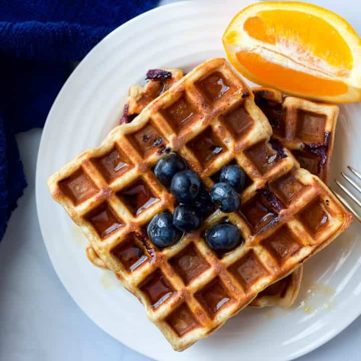Whole wheat blueberry orange waffles - a great easy breakfast or brunch recipe!