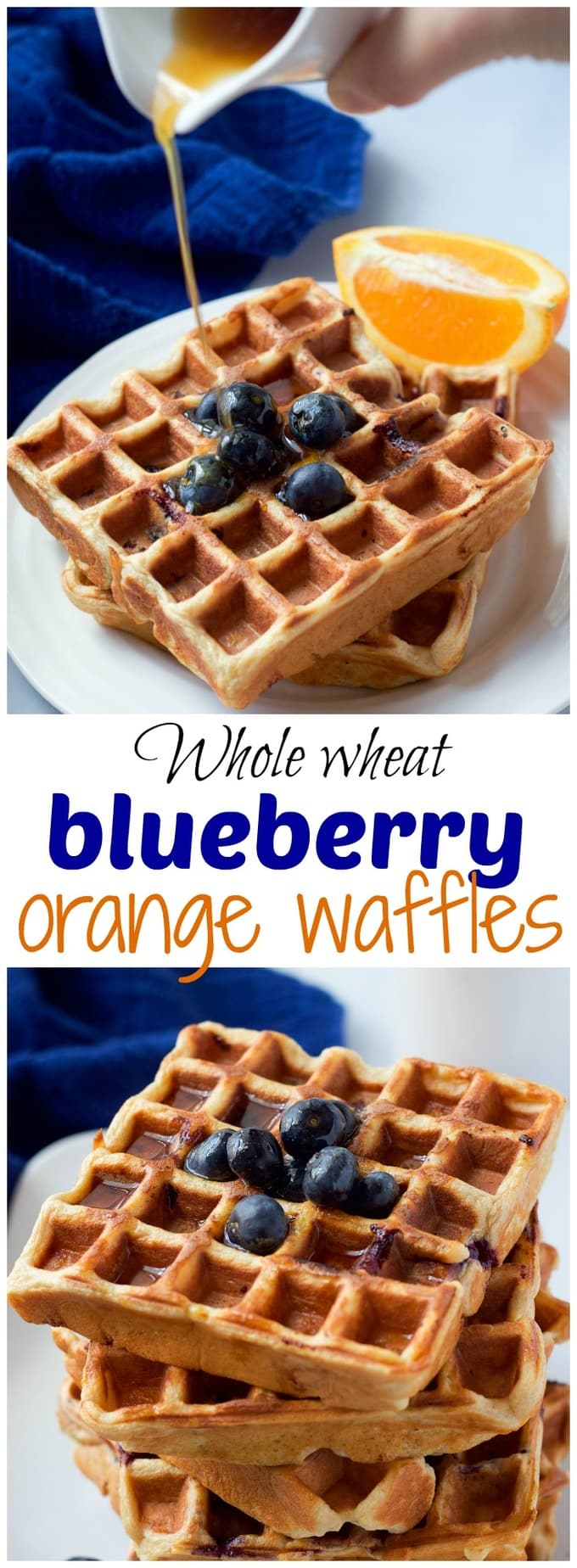 Collage of blueberry orange waffles with a text box in the middle