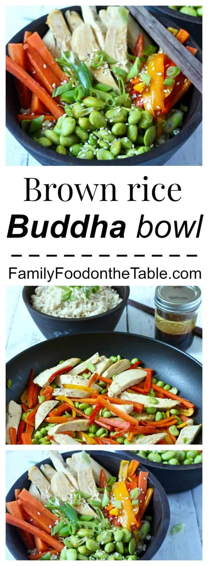 Brown rice Buddha bowl with veggies, chicken and a delicious soy ginger dressing - an easy, healthy dinner!