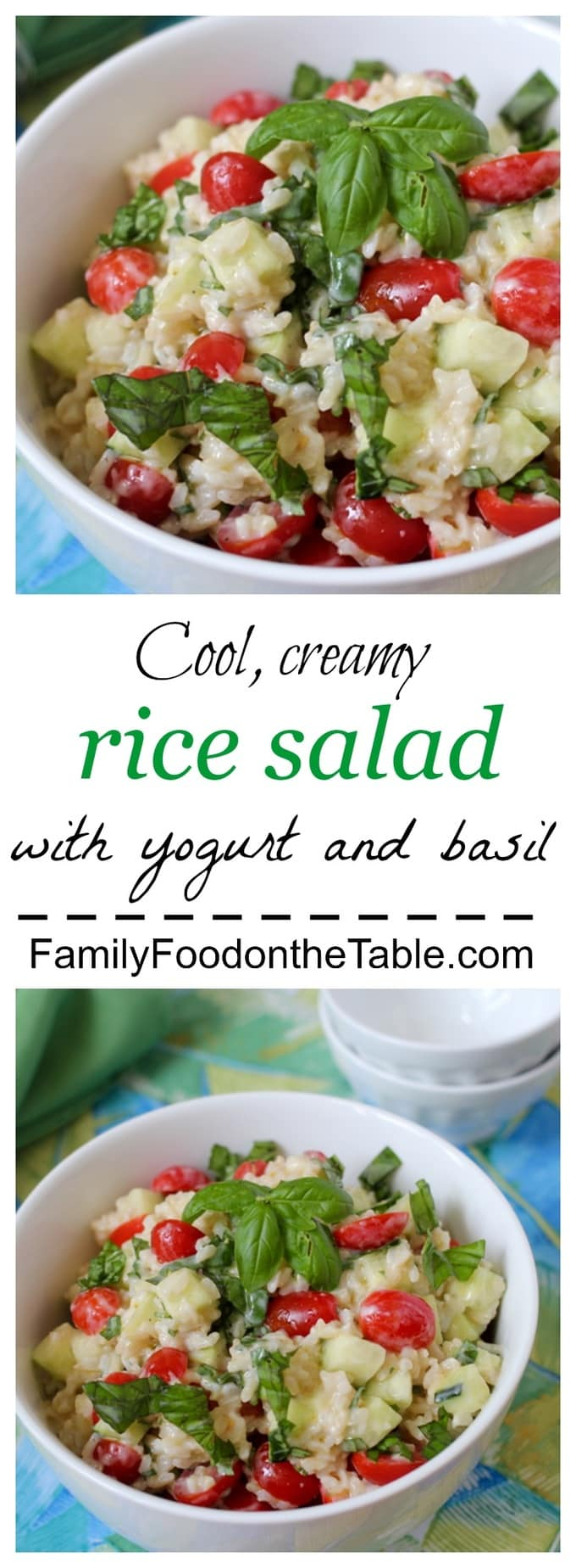 A cool rice salad with tomatoes, cucumber, basil and a creamy yogurt dressing – perfect for summer! | FamilyFoodontheTable.com