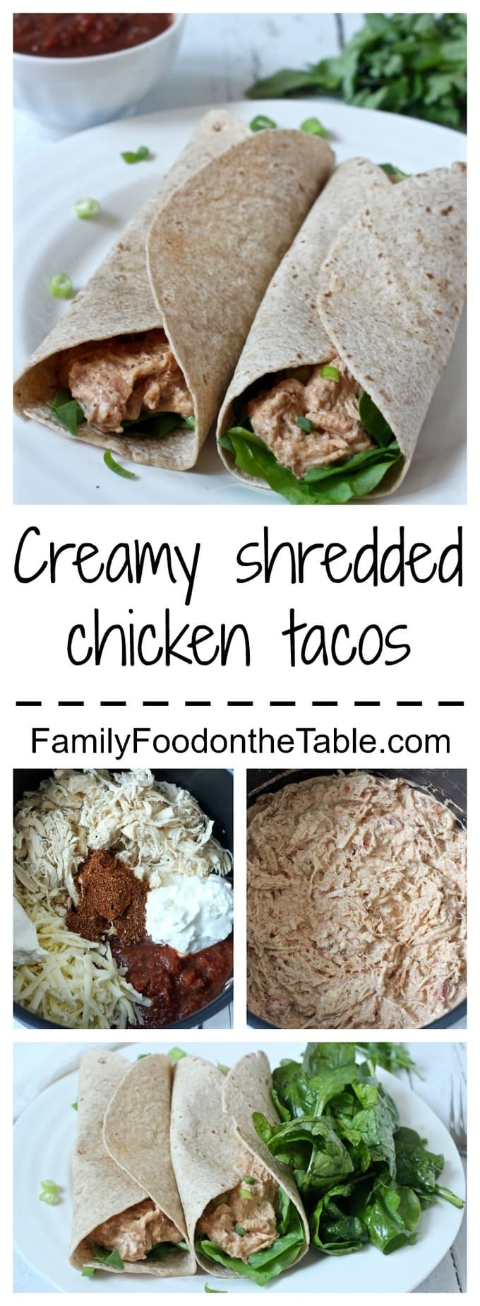 A creamy sauce coats shredded chicken in this 10-minute taco dinner! | FamilyFoodontheTable.com