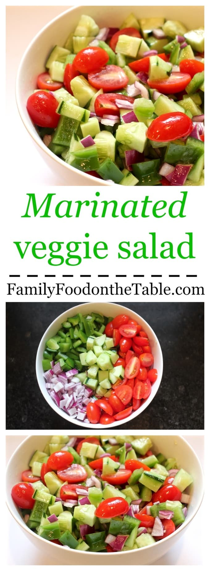 A bright, fresh marinated veggie salad with cucumbers, peppers and tomatoes - perfect for summer picnics and BBQ parties!
