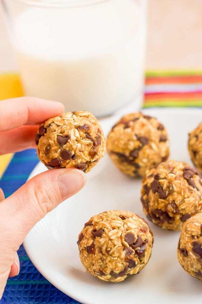 A small cookie ball with oats and chocolate chips being picked up from a plate