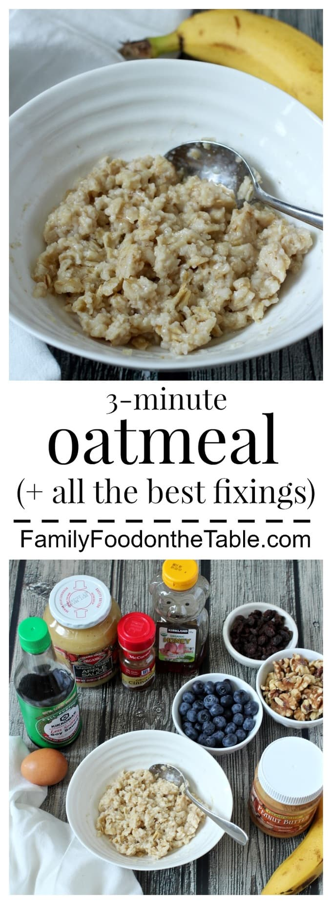Oatmeal is our go-to super-fast, healthy breakfast - plus lots of ideas for toppings!