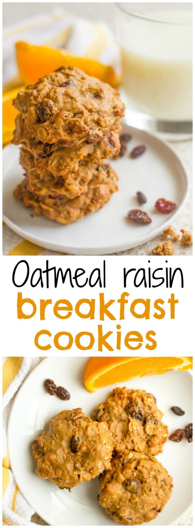 Wholesome oatmeal raisin breakfast cookies that are 100% whole grain and naturally sweetened