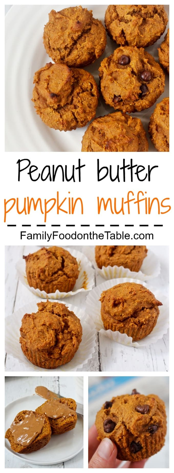 Whole wheat, naturally sweetened peanut butter pumpkin muffins, with optional chocolate chips - great kids snack or school lunch!
