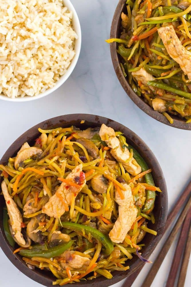This veggie-packed pork stir fry is ready in just 25 minutes for a fast, healthy dinner!
