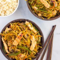 Pork and broccoli slaw stir fry