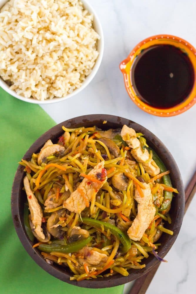 An easy, veggie-packed pork stir fry dinner that's ready in just 25 minutes!