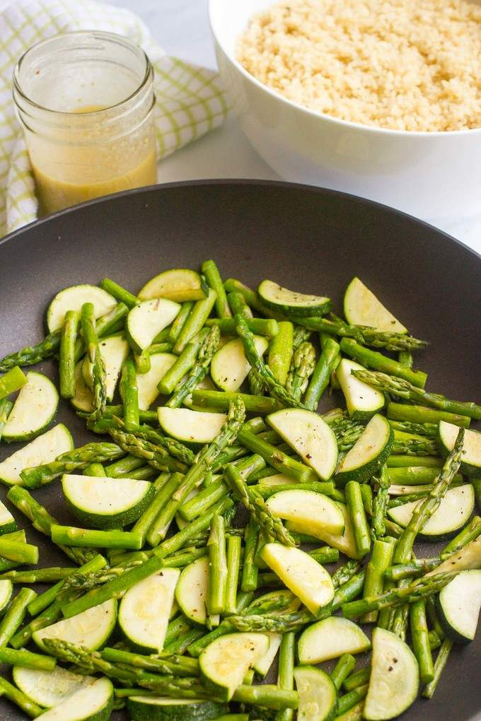 Quinoa asparagus salad with zucchini and a tangy mustard vinaigrette