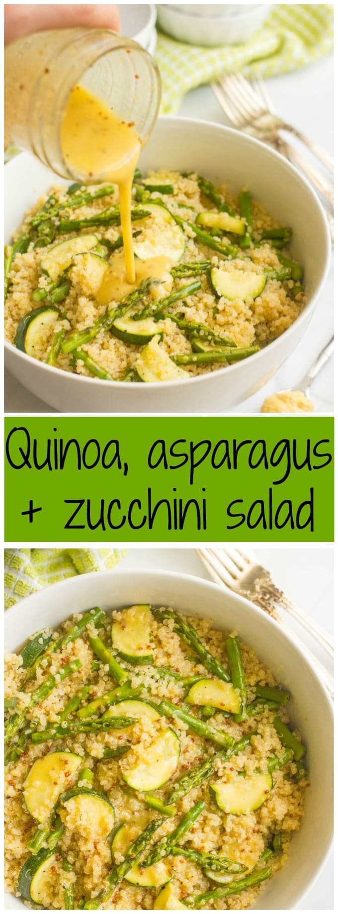 Quinoa asparagus salad with zucchini and a tangy mustard vinaigrette - great for lunch or as a healthy dinner side! {gluten-free, vegan}