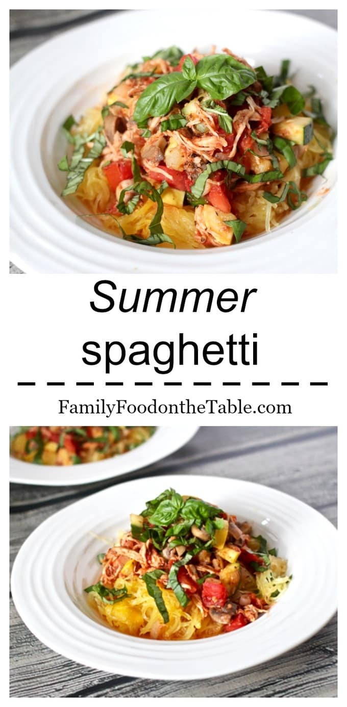 A spaghetti bursting with summer veggies, on-hand chicken and fresh tomatoes - a great healthy dinner!